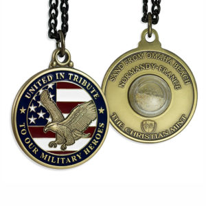 United-In-Tribute Patriotic Medal with Capsule of Omaha Beach Sand (D-Day)