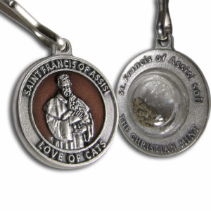 St. Francis of Assisi Enameled Pet Medal for Cats with Capsule of Assisi Soil