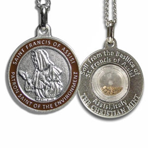 Christian mint saint francis red enamel medal for dogs with assisi st francis environment medal with assisi soil aloadofball Choice Image