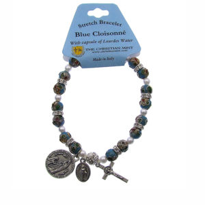 Blue Cloisonne Rosary Stretch Bracelet with Capsule of Lourdes Water