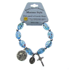 Murano Rosary Stretch Bracelet with Capsule of Lourdes Water