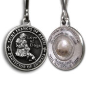 Saint Francis Black Enameled Dog Medal with Assisi Soil