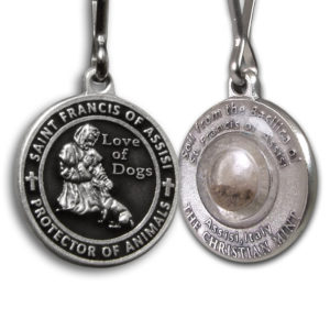 Saint Francis Black Enameled Dog Medal with Assisi Soil