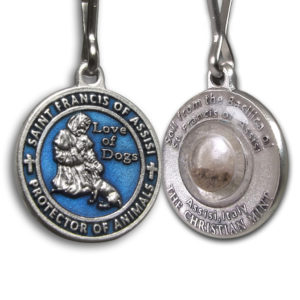Saint Francis Blue Enameled Dog Medal with Assisi Soil