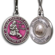 Saint Francis Pink Enameled Dog Medal with Assisi Soil