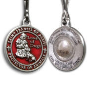 Saint Francis Red Enameled Dog Medal with Assisi Soil