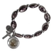 St Peregrine Patron Saint of Cancer Black Murano Stretch Bracelet with St Peregrine Soil - Back Side