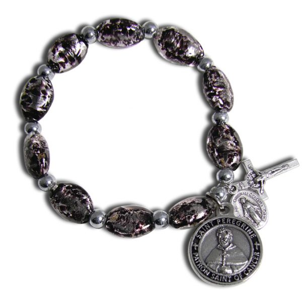 St Peregrine Patron Saint of Cancer Black Murano Stretch Bracelet with St Peregrine Soil - Front Side
