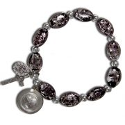 Black Murano rosary stretch bracelet with Lourdes water - Back Side