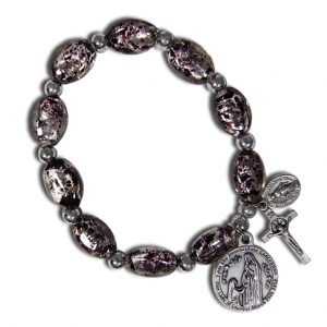 Black Murano rosary stretch bracelet with Lourdes water - Front Side