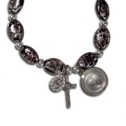 Black Murano rosary stretch bracelet with Lourdes water - Back Side Close-up